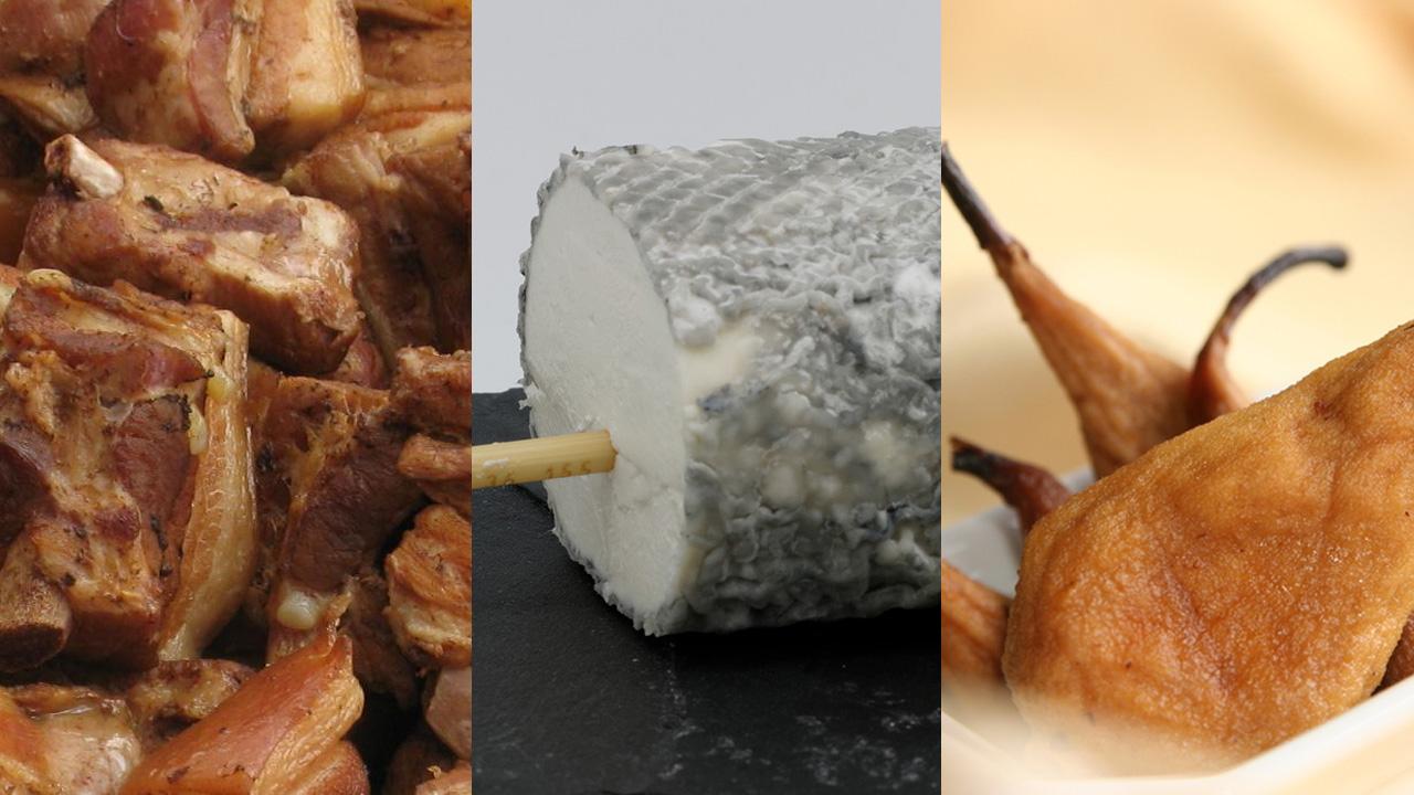 Rillons de Tours, Saint-Maure de Touraine cheese and Pears Tapées de Rivarennes